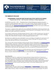 FOR IMMEDIATE RELEASE THUNDERBIRD LAUNCHES NEW ...