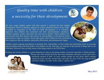 Quality time with children: a necessity for their development