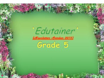 Grade5 Newsletter for the month of October 2012