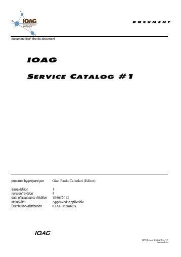 IOAG Service Catalog #1 - Interagency Operations Advisory Group