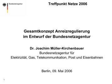 Gesamtkonzept Anreizregulierung im Entwurf der ... - Treffpunkt Netze