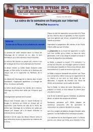 La sidra de la semaine en français sur internet Paracha ... - Hassidout