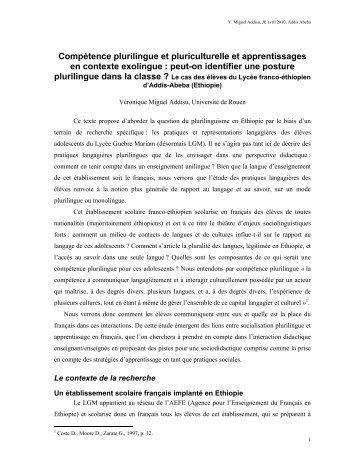 Compétence plurilingue et pluriculturelle et apprentissages ... - CFEE