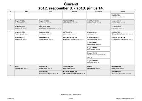 Órarend 2012. szeptember 3. - 2013. június 14.