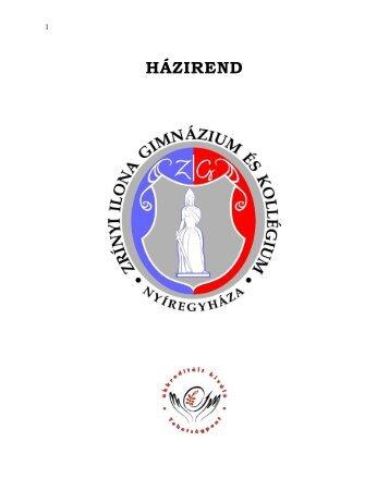 HÁZIREND - Zrínyi Ilona Gimnázium