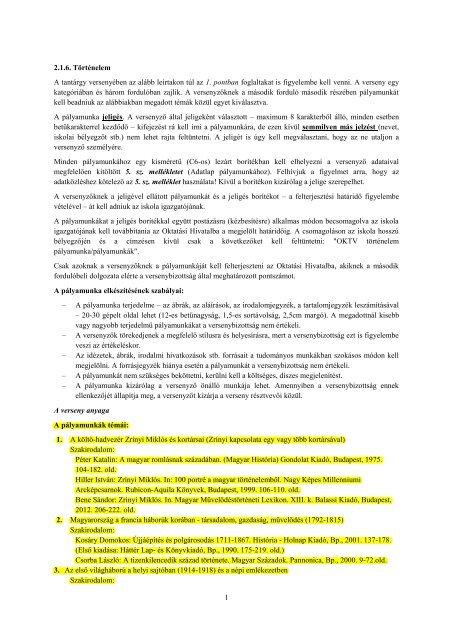 1 2.1.6. Történelem A tantárgy versenyében az ... - Oktatási Hivatal