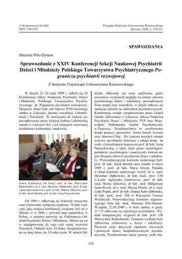 Sprawozdanie z XXIV Konferencji Sekcji Naukowej Psychiatrii ...