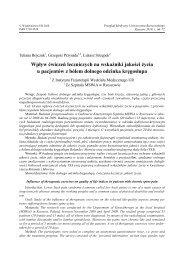 Wpływ ćwiczeń leczniczych na wskaźniki jakości życia u pacjentów ...