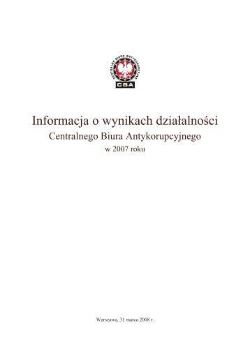 Informacja o wynikach działalności - Centralne Biuro Antykorupcyjne