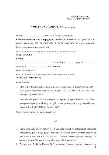 Wzór umowy ramowej - CBA - Centralne Biuro Antykorupcyjne