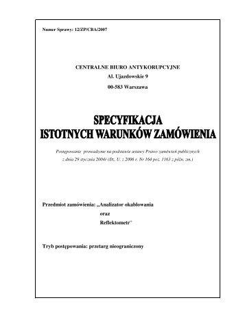 SIWZ do ogłoszenia - CBA - Centralne Biuro Antykorupcyjne