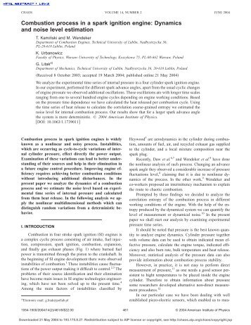 Combustion process in a spark ignition engine: Dynamics and noise ...