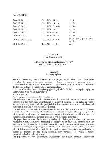 z dnia 9 czerwca 2006 r. - CBA - Centralne Biuro Antykorupcyjne