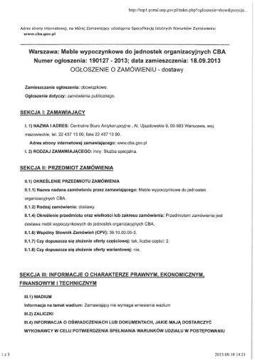 Ogłoszenie o zamówieniu - CBA - Centralne Biuro Antykorupcyjne