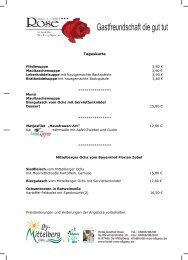 Restaurant Hotel Rose Speisekarte und Tageskarte