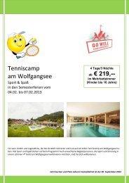 Tenniscamp am Wolfgangsee - tennis club dornbirn
