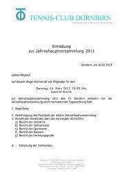 TCD Jahreshauptversammlung 2011 - tennis club dornbirn