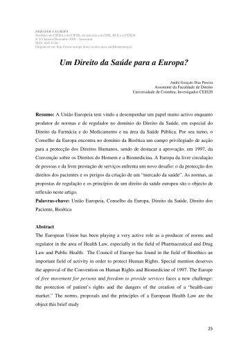 Um Direito da Saúde para a Europa? - Infoeuropa