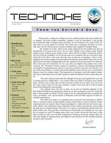 Techniche I - College of Technology, Pantnagar