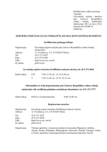 Sertifikavimo veiklos nuostatų 3 priedas - Gyventojų registro tarnyba