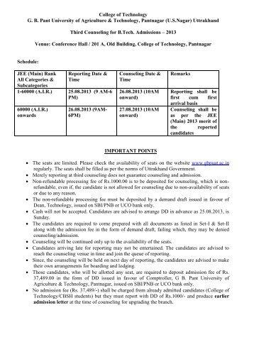 Uttrakhand Third Counseling f - College of Technology, Pantnagar