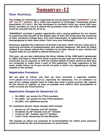 Invitation Letter - College of Technology, Pantnagar