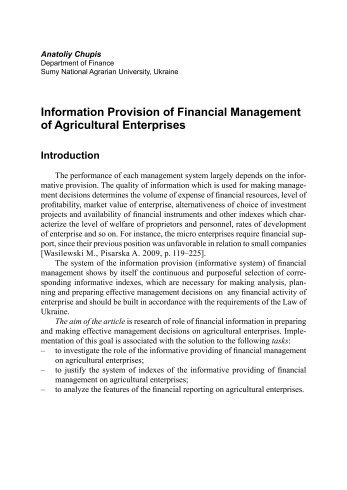Information Provision of Financial Management of ... - SGGW