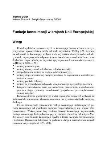 Funkcje konsumpcji w krajach Unii Europejskiej • • • • • • • - SGGW