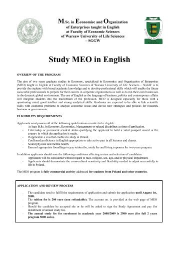 Study MEO in English - SGGW