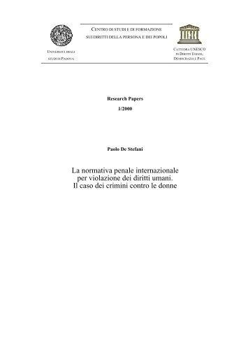 Diritto penale internazionale e crimini contro le donne - Diritti umani ...