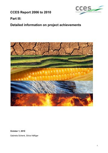 CCES Report 2006 to 2010 Part III: Detailed information on project ...