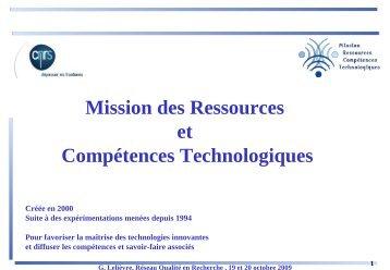 La Mission des Ressources et Compétences Technologiques