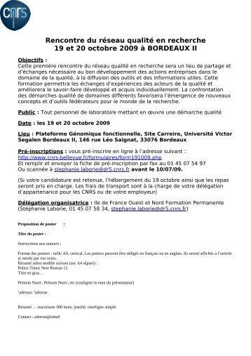 Rencontre du réseau qualité en recherche 19 et 20 octobre 2009 à ...