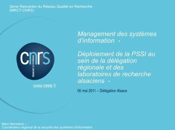 information - Réseau Qualité en Recherche - CNRS