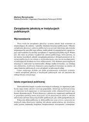 Zarządzanie jakością w instytucjach publicznych - SGGW