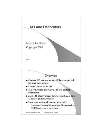 I/O and Decorators