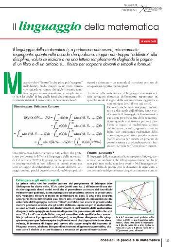Il linguaggio della matematica - xlatangente