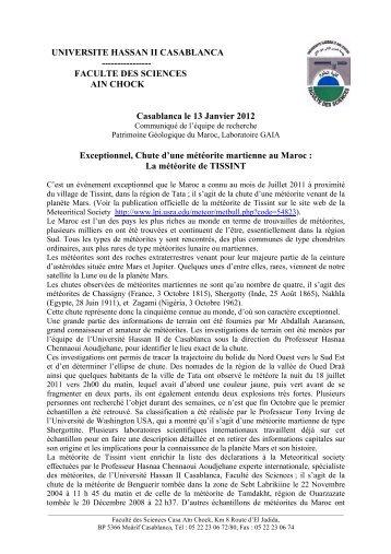 UNIVERSITE HASSAN II CASABLANCA - Faculté des Sciences Aïn ...