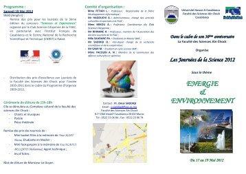 Dépliant JS2012 - Faculté des Sciences Aïn Chock Casablanca