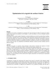 W. Bouzid, A. Zghal, L. Saï Optimisation de la rugosité des ... - SMSM