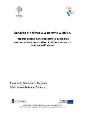 Kondycja III sektora w Warszawie w 2010 r. - NGO - Warszawa