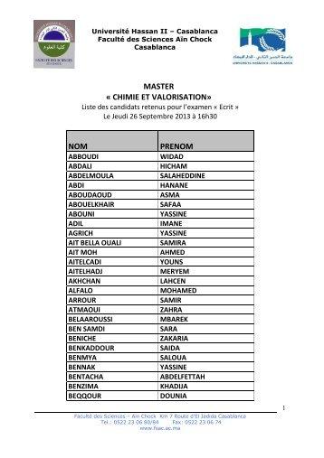 nom prenom master « chimie et valorisation - Faculté des Sciences ...