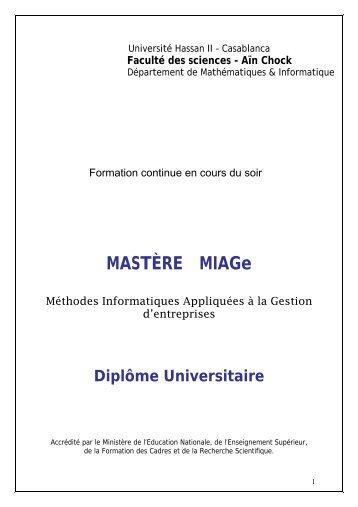 (DU) Master( MIAGe) - Faculté des Sciences Aïn Chock Casablanca