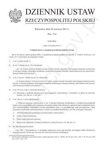 Ustawa z dnia 19 kwietnia 2013 r. o zmianie ustawy o zasadach ...