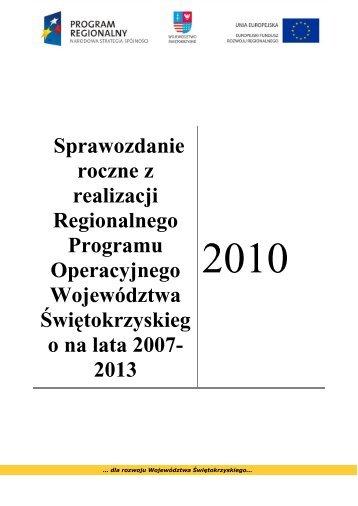 Sprawozdanie z realizacji RPOWŚ 2007-2013-2010 rok