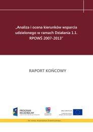 Analiza i ocena kierunków wsparcia udzielonego w ... - Ewaluacja