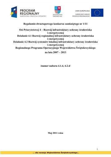 Regulamin konkursu w ramach Działania 4.1 i 4.2 RPOWŚ 2007 ...