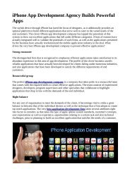 iPhone App Development Agency Builds Powerful Apps
