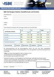 Preisliste und Bestellformular - ISBE GmbH