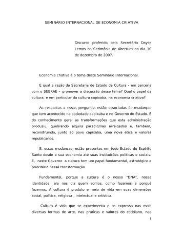 1 SEMINÁRIO INTERNACIONAL DE ECONOMIA CRIATIVA ... - Secult